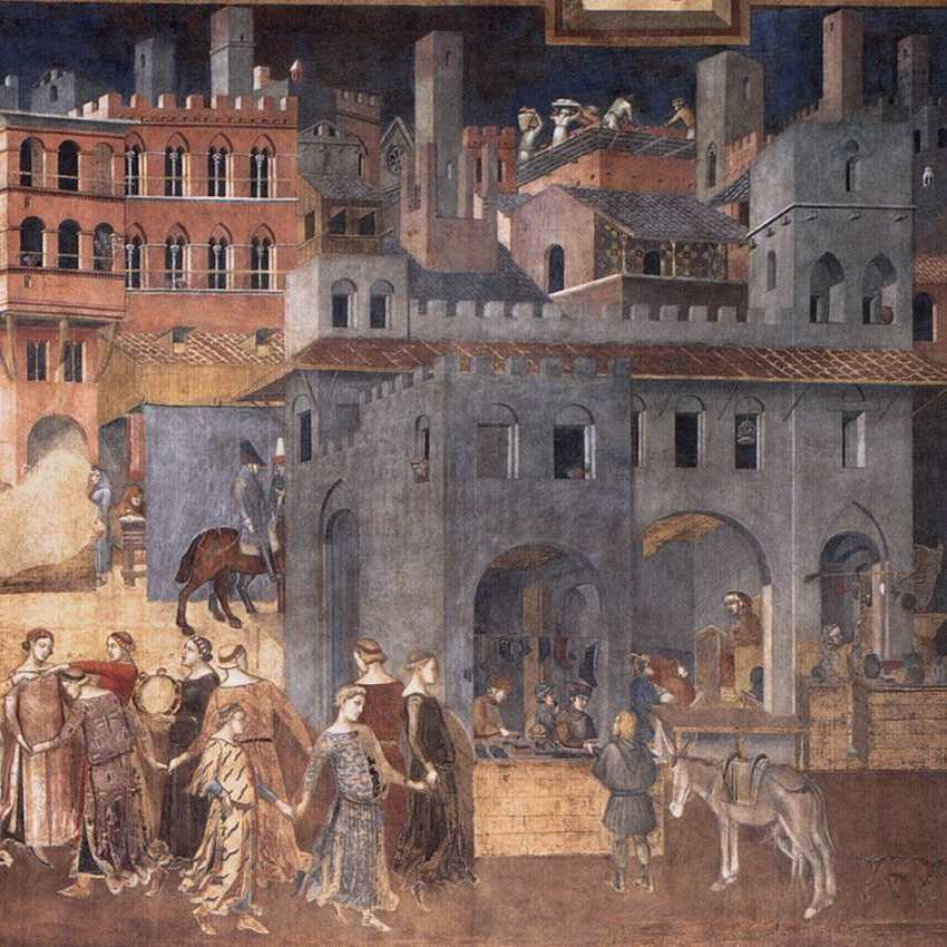 Ambrogio Lorenzetti ,  The Allegory of Good and Bad Government  (1338)