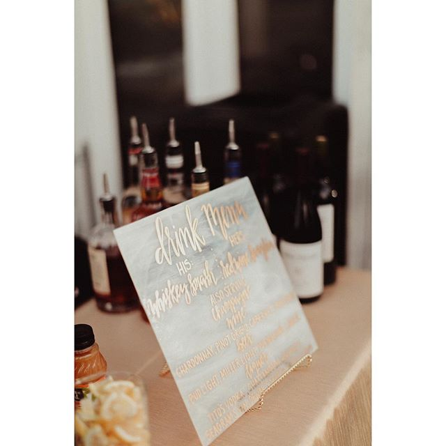 |Custom Drink Menu| Contact us today for custom wedding signage and rentals! 📷: @wynwileyphoto