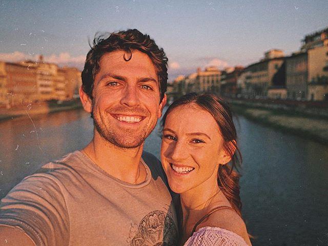 Marito, moglie, and enough mozzarella to roll ourselves down this bridge 🧀 📍Florence, Italy