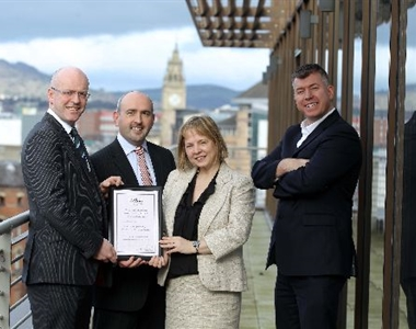 Left to right in photo - Martin McCallion, Steven Keown from McCallion Keown, Imelda McMillan, President of the Law Society and Martin Rice, Managing Director of Next Level Impact)