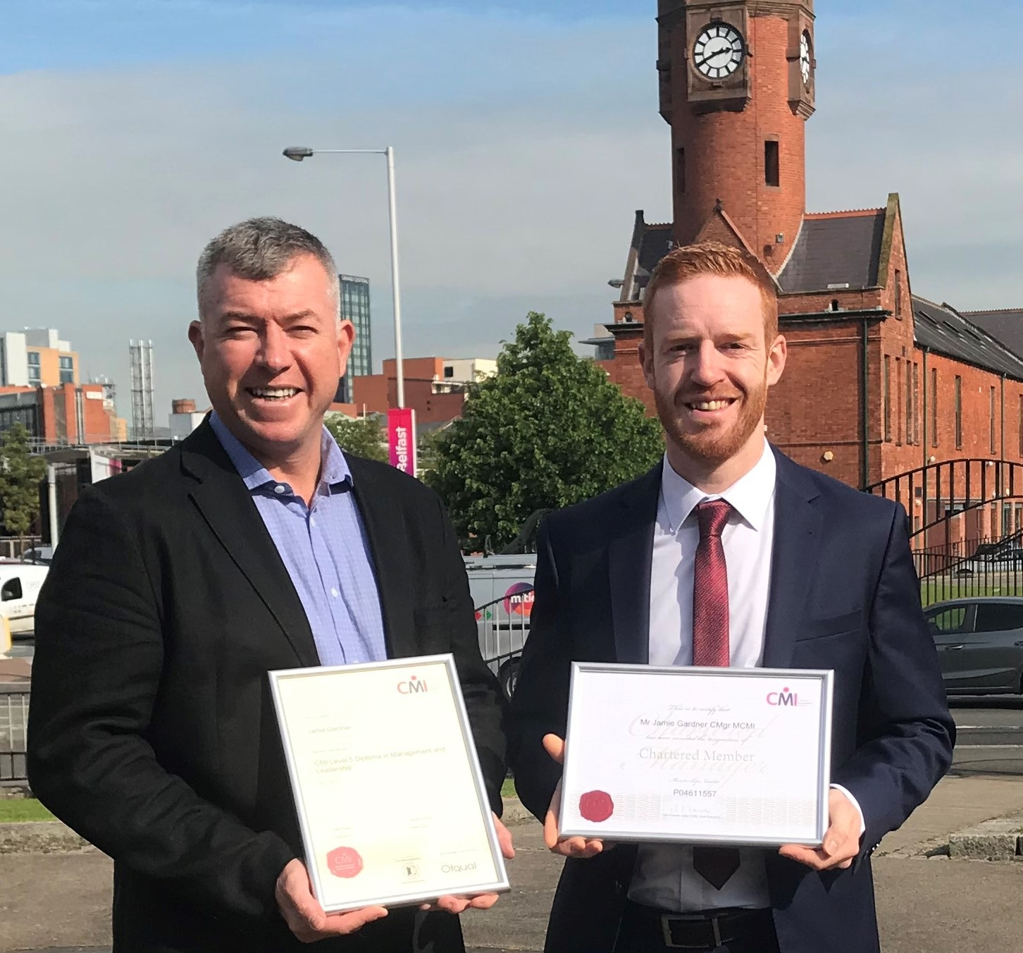 Martin Rice (CEO Next Level Impact) presents Jamie Gardner (Commercial Manager, Ratio Vending) with his Level 5 Diploma in Management and Leadership. Jamie is also the first employee in Ratio Vending's 50 year history to be recognised as a Chartered Manager.