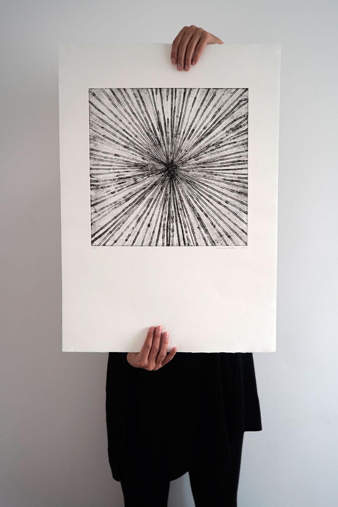 Collagraph handmade artprint - Exploding out - 50x70 cm
