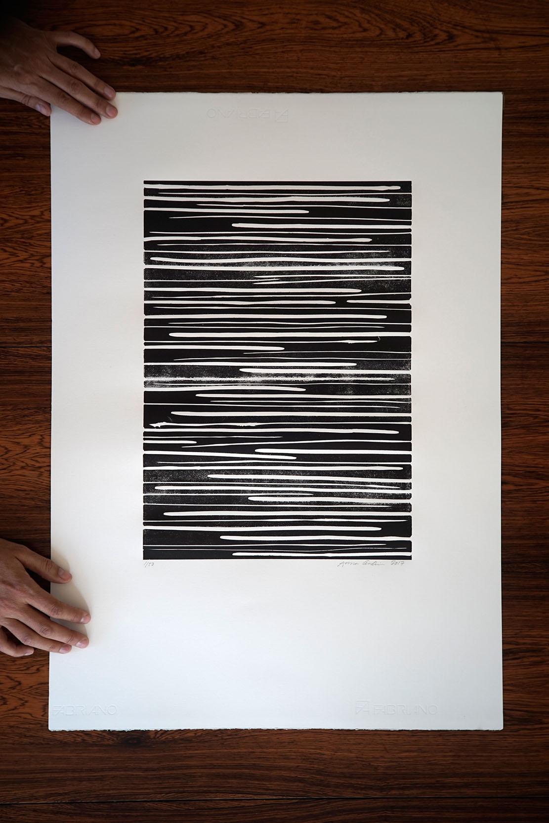 Movement in balance, linocut print 50x70cm