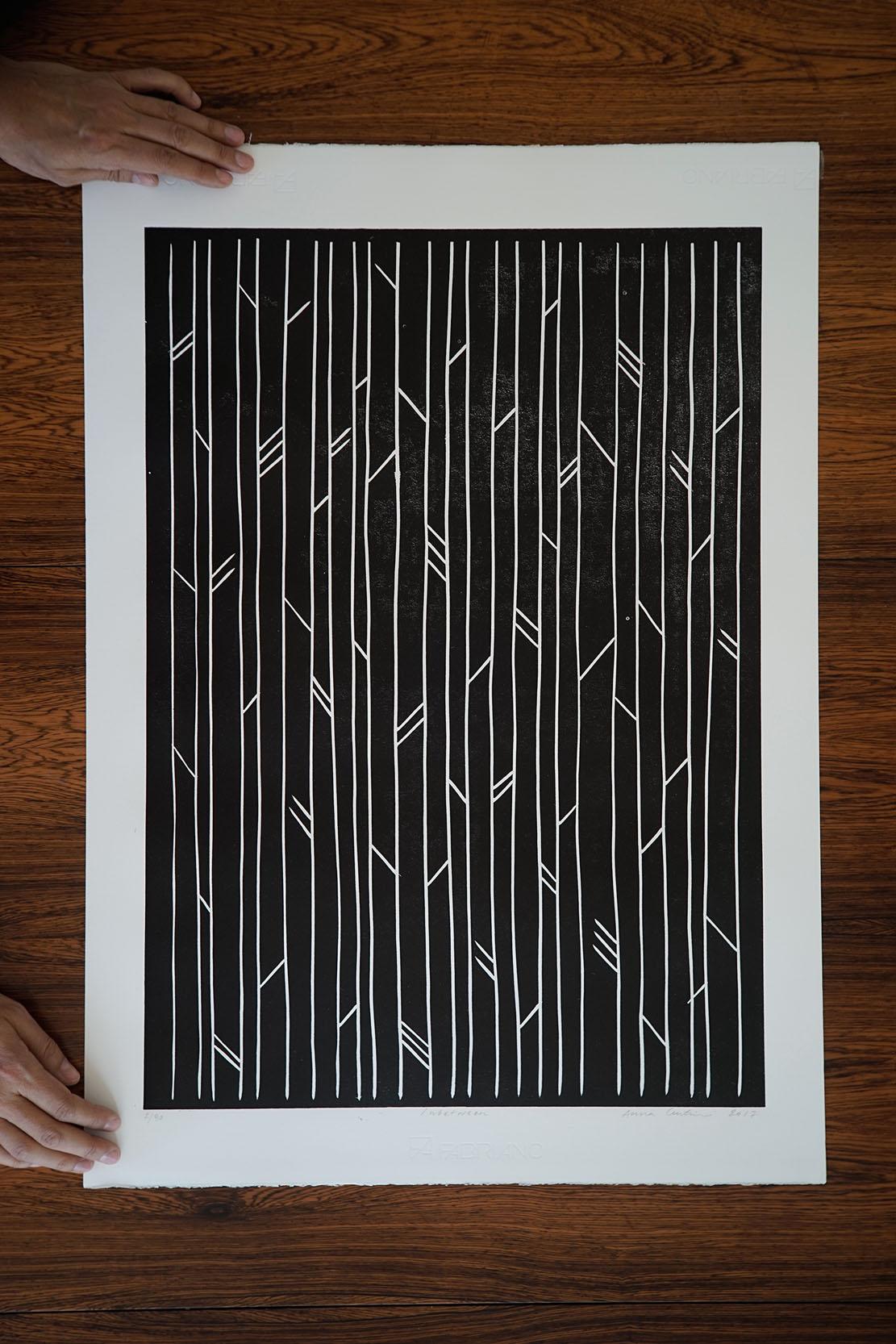 In Between (and who is looking?), Linocut print, 50x70cm