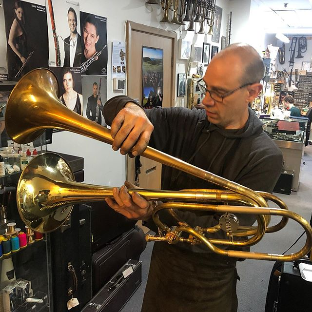 Bret Gustafson at @gustafsoncustomhorns working out where to put the second bell on the double-bell bass trombone for @benhanderson87. Pretty excited to see this materialising! . . . #trombone #doublebell #newmusic #ossicleduo