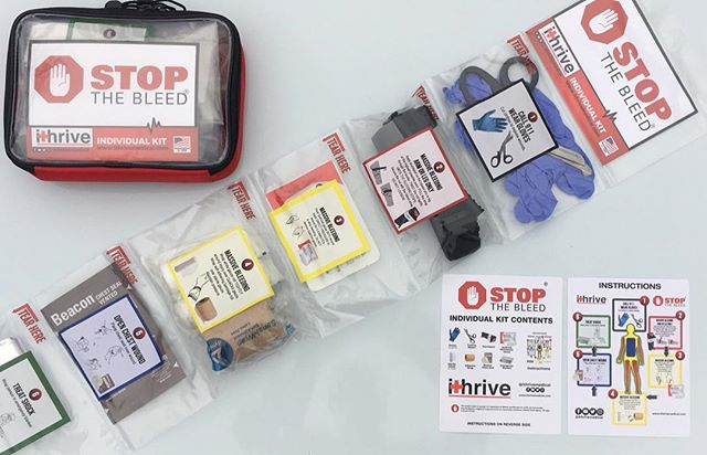 Our bleeding control kits include everything you would need in the event a tragedy strikes. This kit could be kept in the closet of a classroom, hung in the bathrooms of churches or in every single business around the country. #ithrivemedical #beprepared #stopthebleed #tourniquet #firstaid #firstaidkit #edc