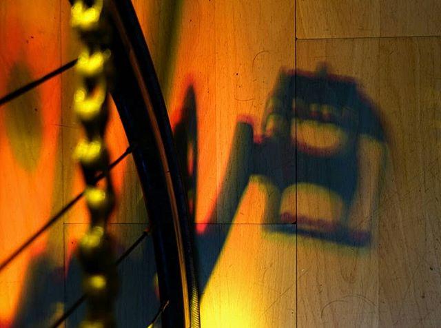 Bike + stained glass window.  #shadows #bicycle #light