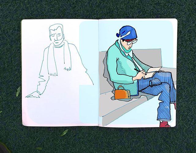 Digitally coloring a quick notebook sketch.  #digitalart #characterdesign #sketchbook #wacom #clipstudiopaint #fountainpen