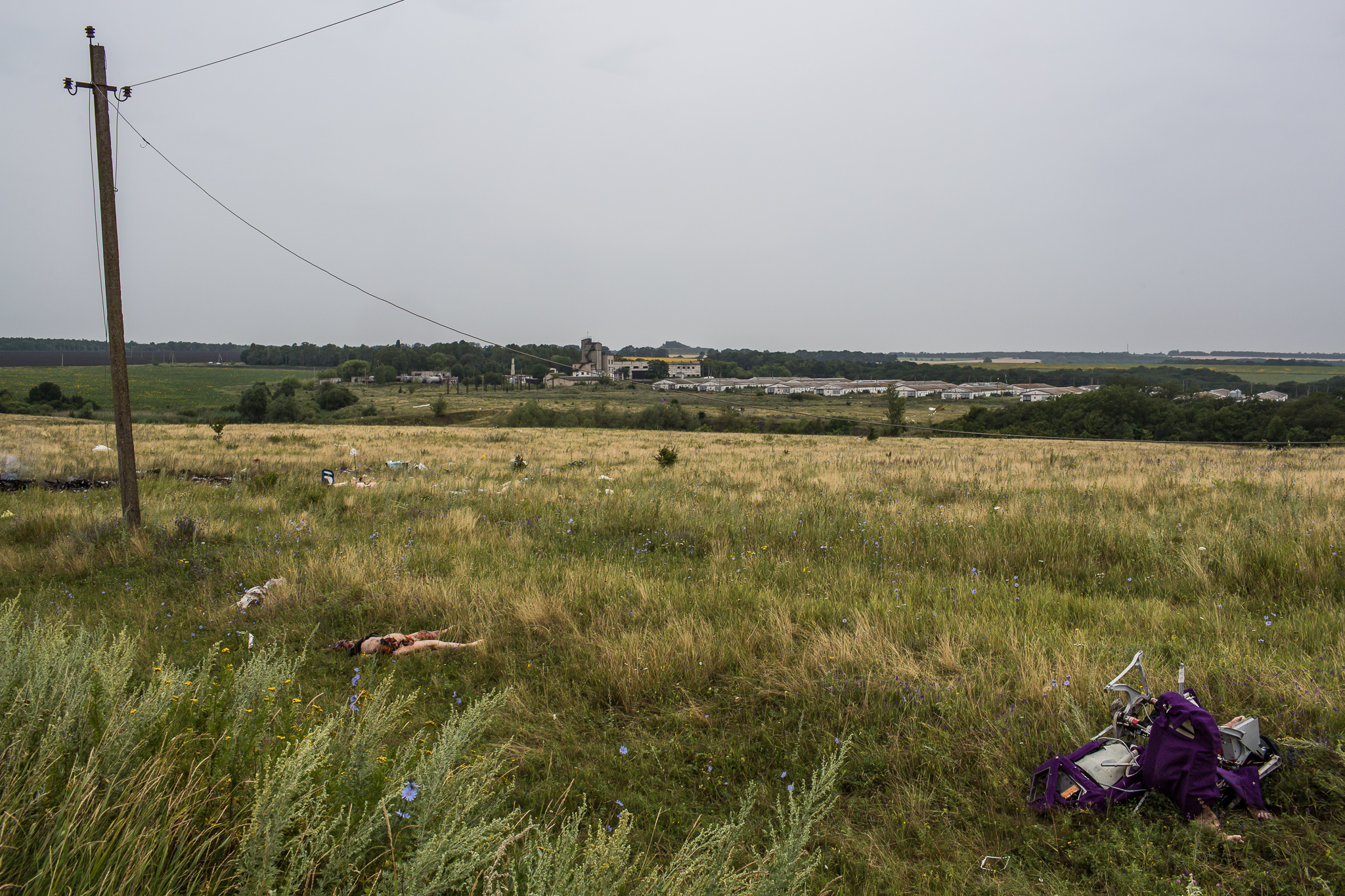 The bodies of victims of the crash of Malaysia Airlines flight MH17 lie in a field on July 18, 2014 in Grabovo, Ukraine. The flight, traveling from Amsterdam to Kuala Lumpur, crashed on the Ukraine/Russia border near the town of Shaktersk. The Boeing 777 was carrying 298 people.