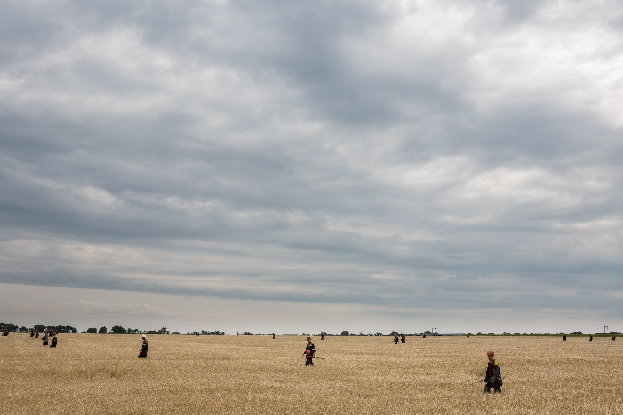 A group of off-duty coal miners searches a wheat field looking for remnants of Malaysia Airlines flight MH 17 on July 19, 2014 in Grabovo, Ukraine. The flight was traveling from Amsterdam to Kuala Lumpur when it crashed killing all 298 on board including 80 children. The aircraft was allegedly shot down by a missile and investigations continue over the perpetrators of the attack.