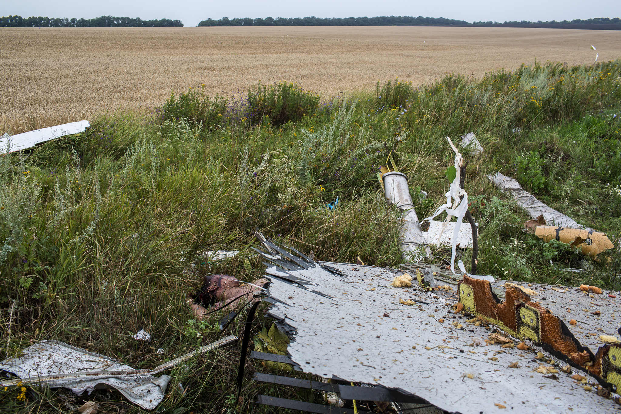 The body of a victim of the crash of Malaysia Airlines flight MH17 lie in a field on July 18, 2014 in Grabovo, Ukraine. Malaysia Airlines flight MH17 travelling from Amsterdam to Kuala Lumpur has crashed on the Ukraine/Russia border near the town of Shaktersk. The Boeing 777 was carrying 298 people.