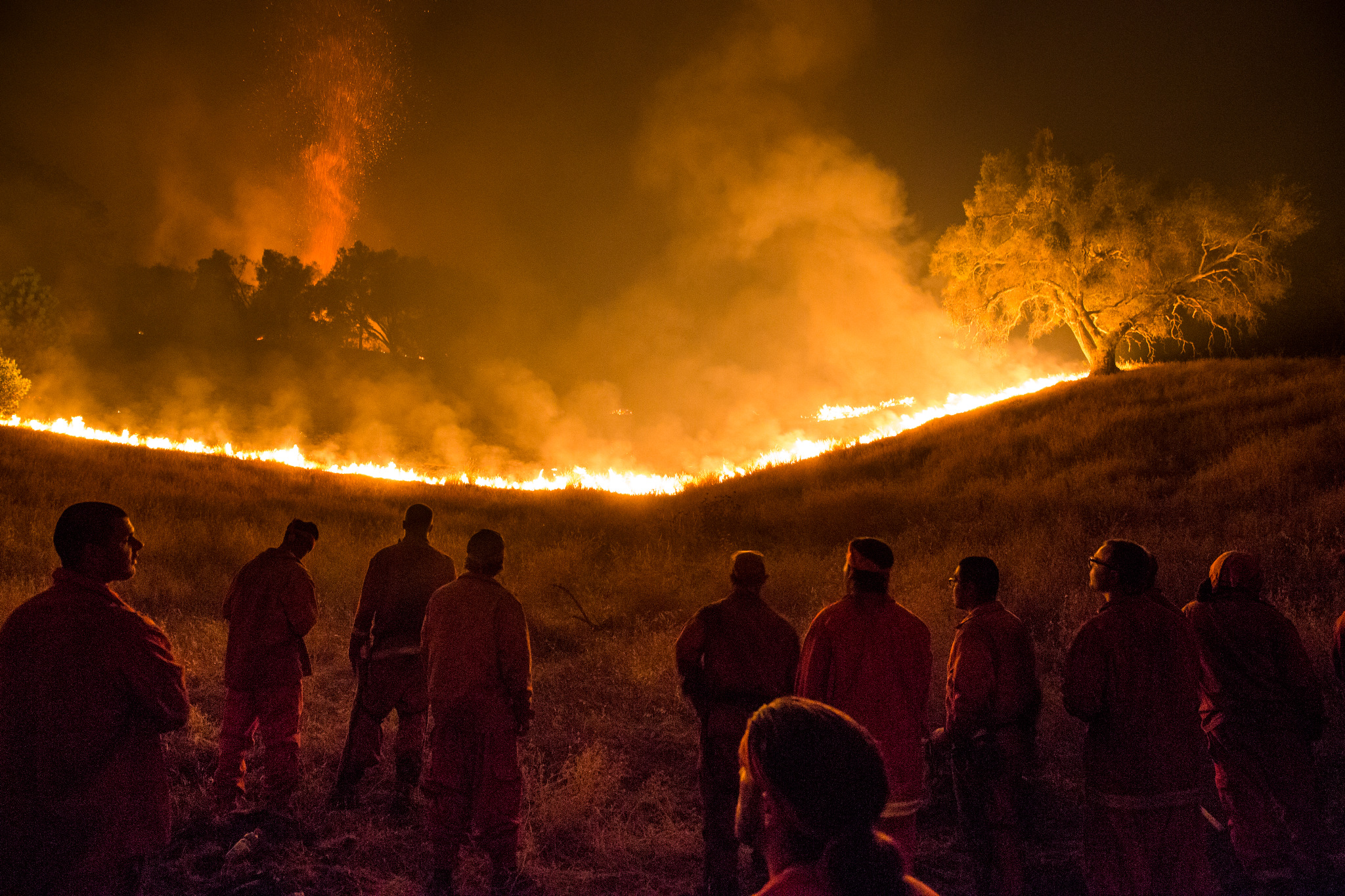 The Antelope convict crew watch as the Butte Fire approaches their fire line near San Andreas, California, September 12, 2015.