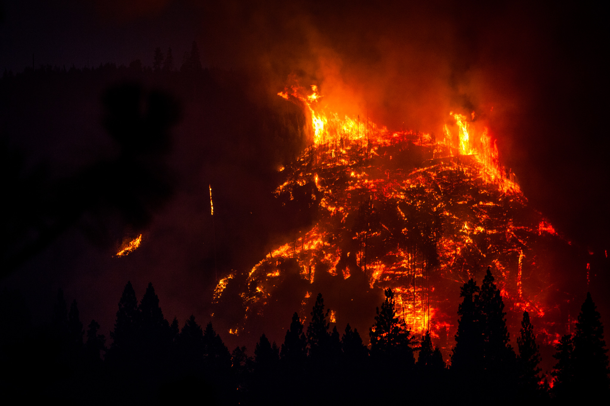 The Rim Fire burns near Buck Meadows, California, August 24, 2013. The Rim Fire burned 257,314 acres and is the third largest wildfire in California history.