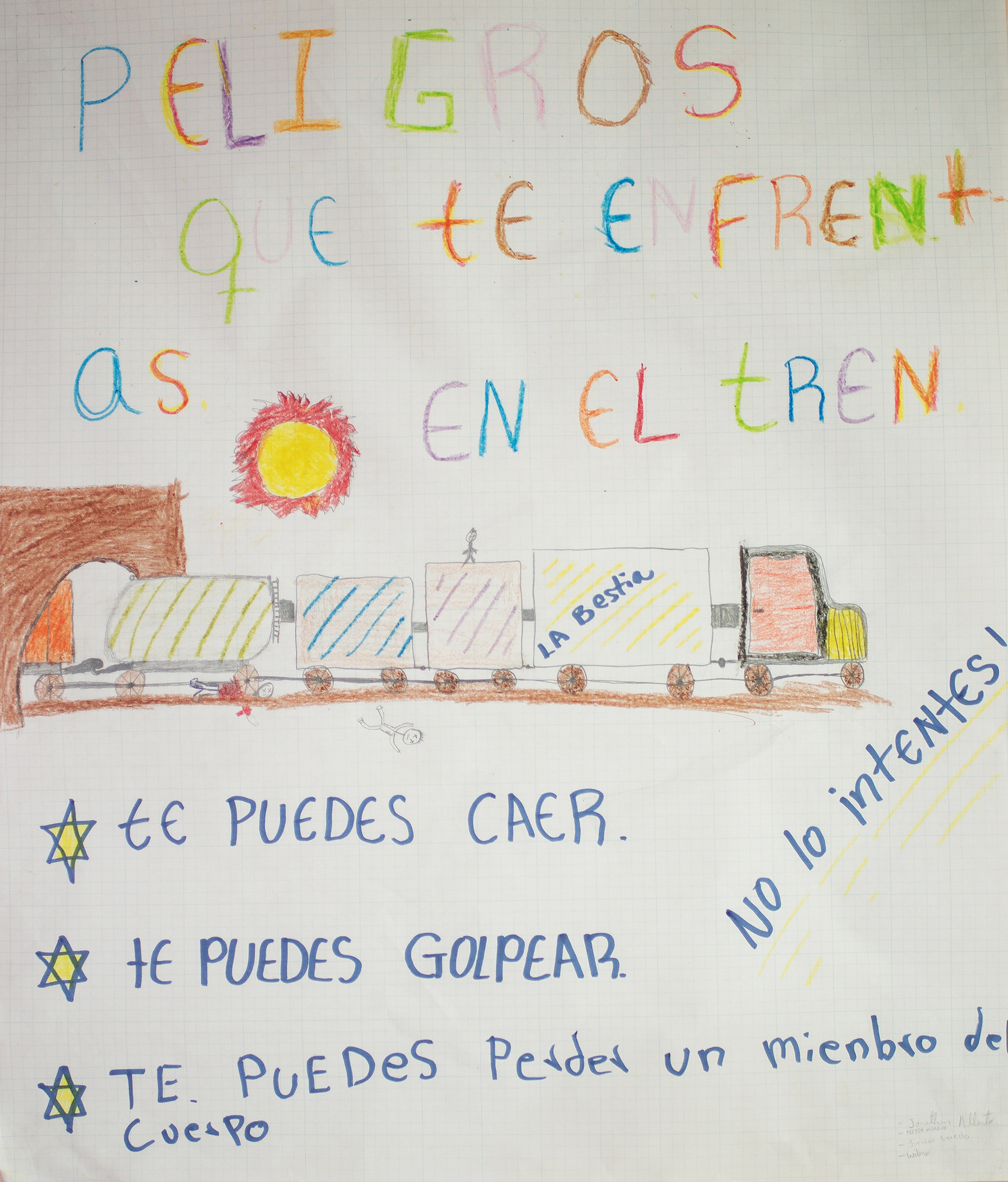 """Drawing that can be found in the CAMEF (Border Minors Service Center) about the dangers of traveling on the Train The Beast. It reads: """"hazards you face on the train: you can fall, you can get hit, you can loose a part of your body. Do not try."""". The purpose of CAMEF is to offer 24-hour assistance to migrant or repatriated children, providing shelter, food, medical care and other supports. Nuevo Laredo, Tamaulipas, Mexico. June 24rd, 2018. Photographer: Luján Agusti."""