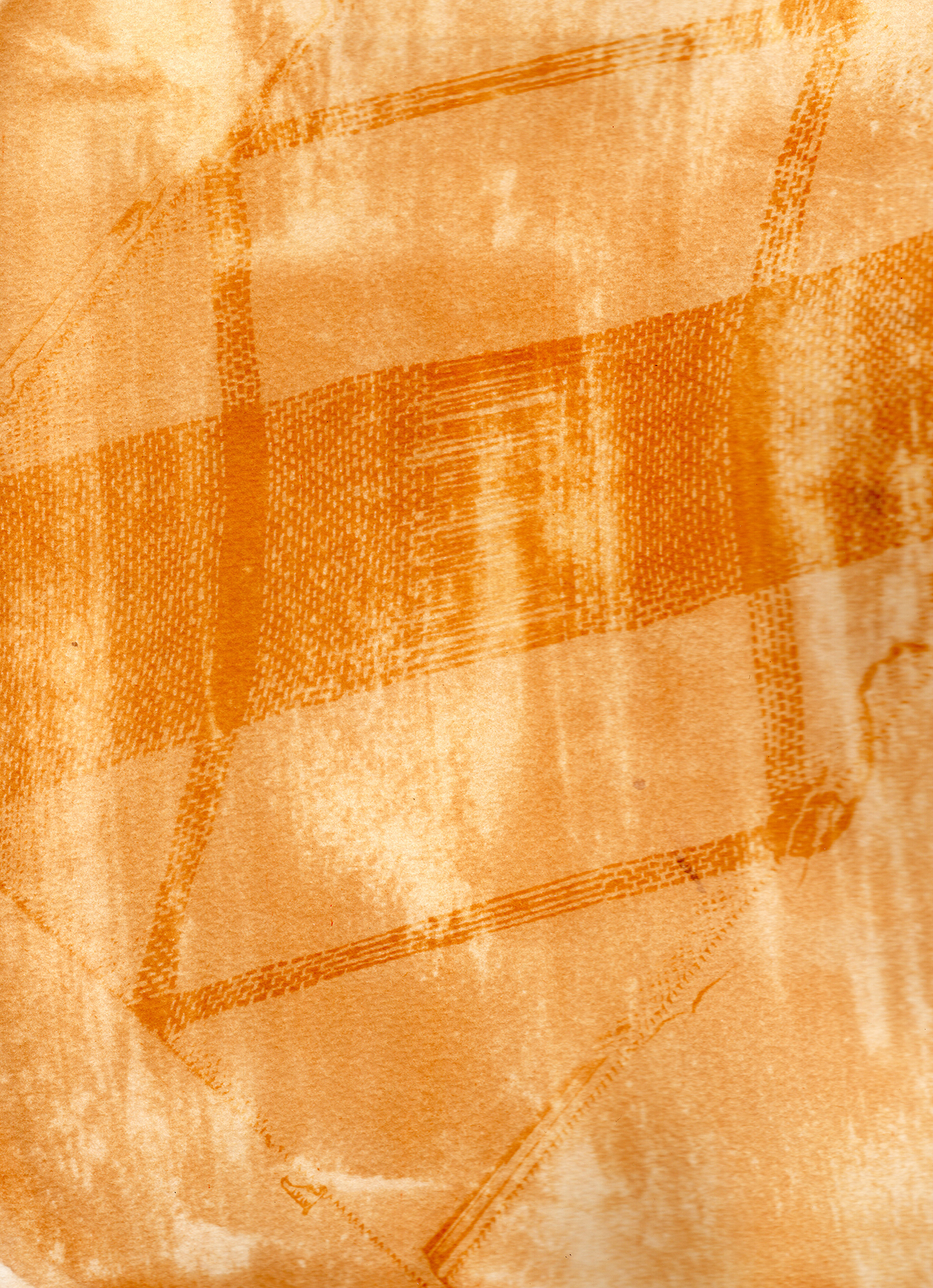 "Detail of a weave in process, made by the ""Hilanderas del Fin del Mundo"", a group of women dedicated to retake traditions of embroidery and weaving by invoking local production against the advance of imports using natural raw materials produced in the island. Scan of an Anthotype made with natural dyes created with Turmeric. Photographer: Luján Agusti. Tierra del Fuego. April 15th, 2018"