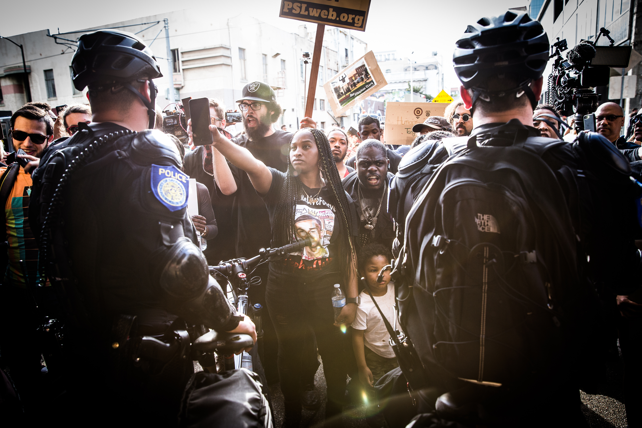 Black Lives Matter protestors confront police in downtown Sacramento on March 29, 2018. Stephon Clark was shot and killed by two Sacramento police officers in his grandmother's backyard while they investigated a vandalism complaint. Since his death, Sacramentans have protested against local enforcement.