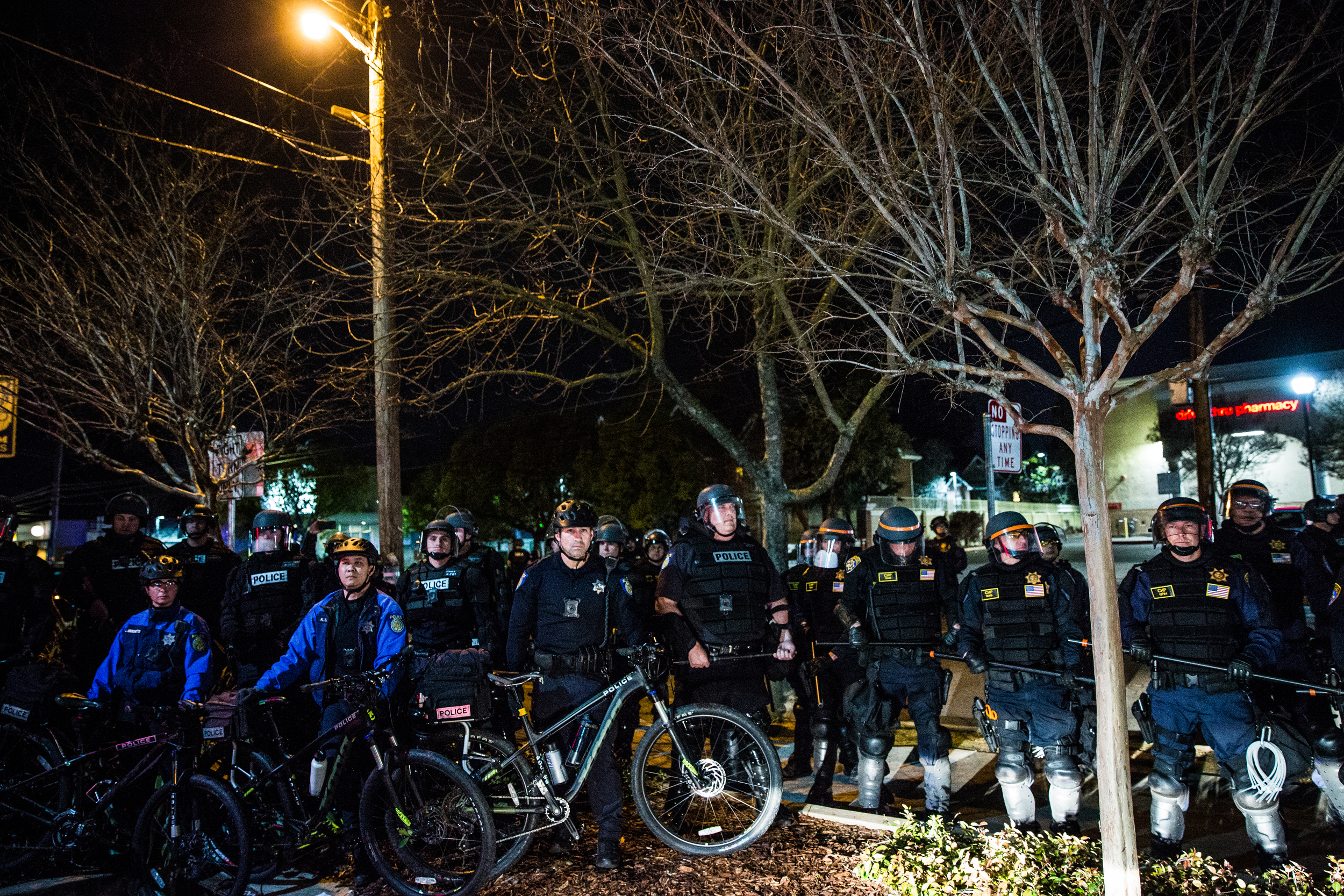 """Police advance on peaceful protestors in the wealthy East Sacramento neighborhood known as the """"Fab Forties"""" to protest the Sacramento County District Attorney's decision to not charge the officers who shot an unarmed Clark in 2018. Sacramento Police ended the evening by arresting 84 peaceful protestors."""