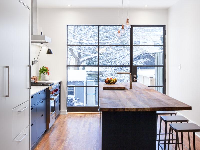 New Kitchen Addition with Custom Metal Sash Window Wall