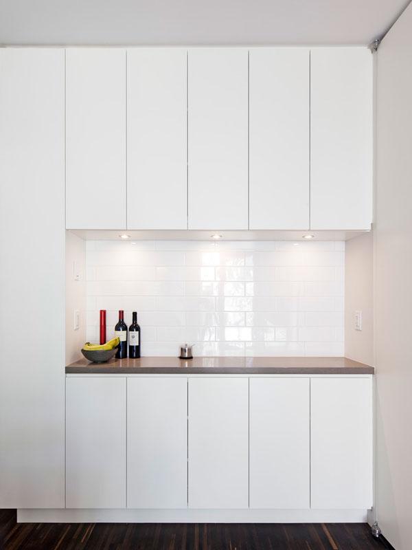 Custom Bar; Simple White Cabinetry