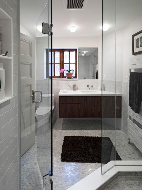 Master Ensuite; Walnut Vanity, Marble Mosaic Tiles and Walk in Shower
