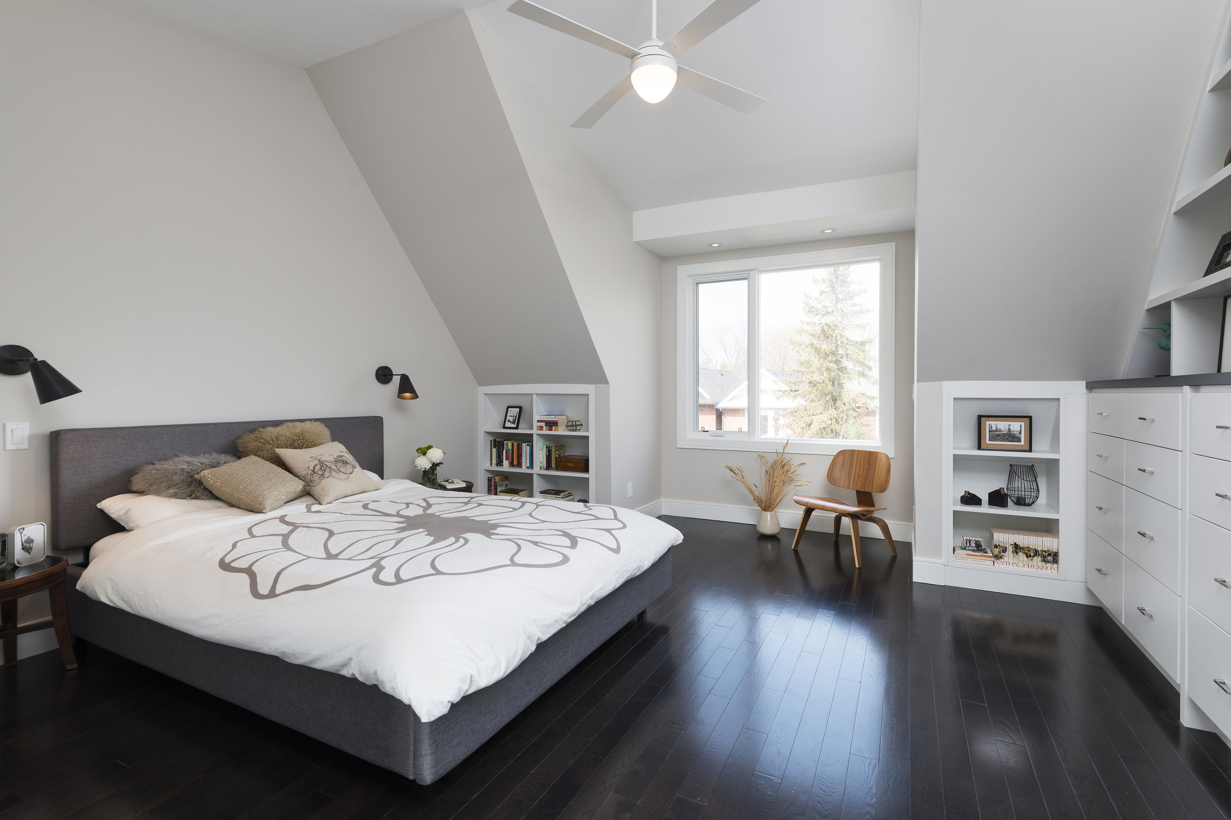 View of Master Bedroom with Kneewall shelving