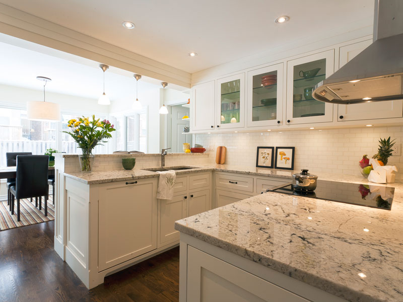 Granite Counter tops and Custom White Kitchen Cabinets