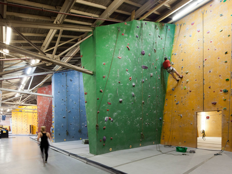 Climbing Walls integrated with the existing industrial steel structure