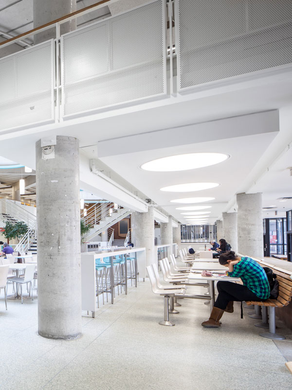 The Food Court is modernized with new guardrail, lighting and furntiure.