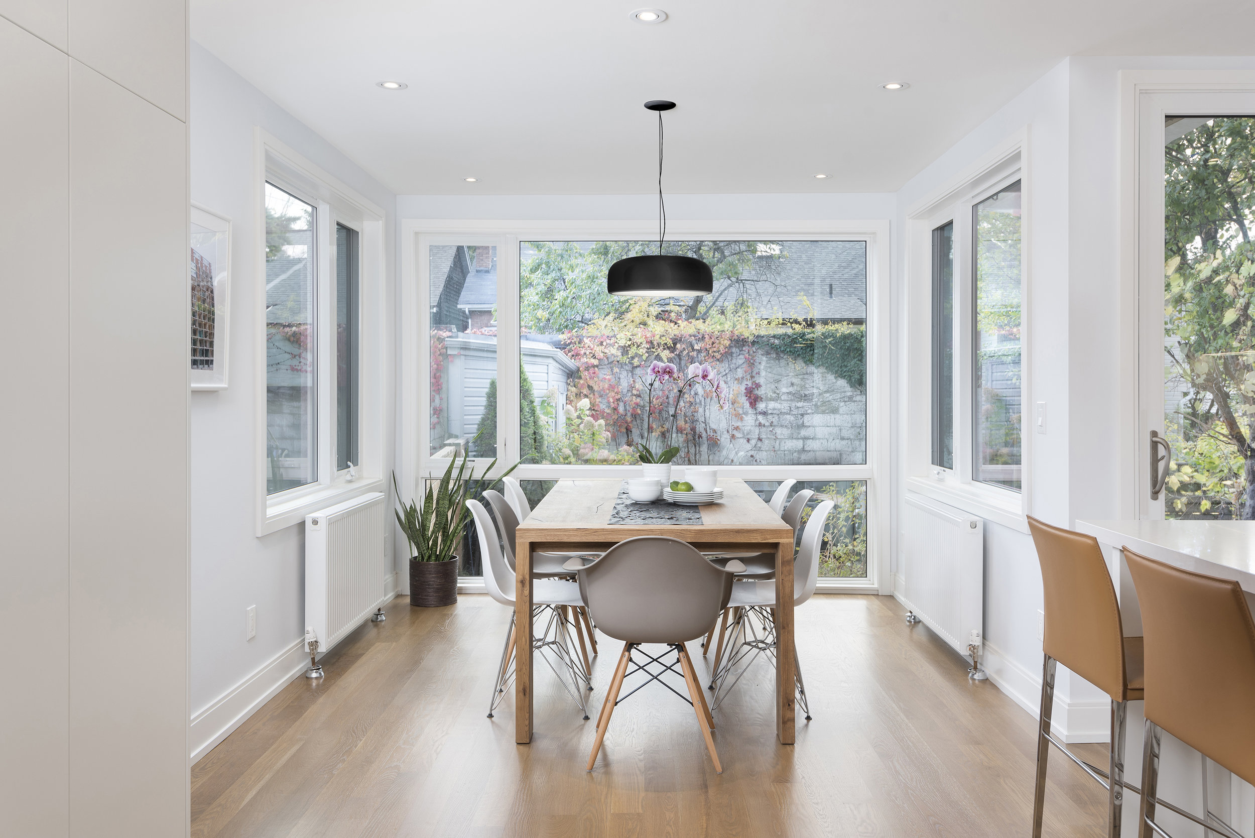 A light filled south facing Dining Room with new windows on all sides is the focal point of the Ground Floor.