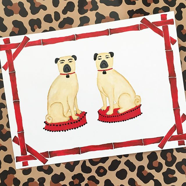 Quincy & Ralph wanted to say hello to all our new followers and see if you have you heard the good #news? Willa Heart is officially #live and taking #orders! I'm so happy to share my little #babies with you! #pugs #meninblack #red #bamboo #leopardprint #artprint #palmbeach #chinoiserie #staffordshire #dogs #dogsofinsta #handmade #handpainted #fineart