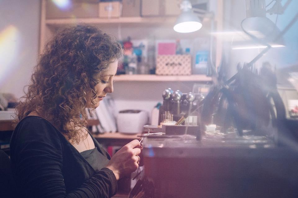 Erin working in her studio.