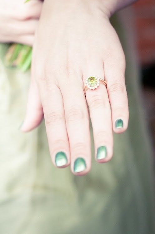 This beautiful engagement ring has a molten wedding band that was shaped to sit beautifully underneath it.