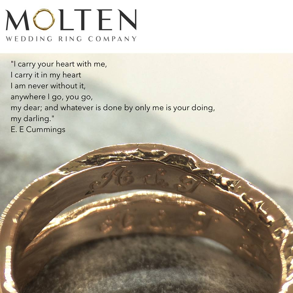 I carry your heart, hand engraving inside wedding bands