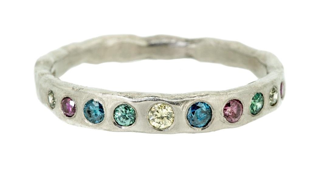 Gypsy set multi coloured diamonds