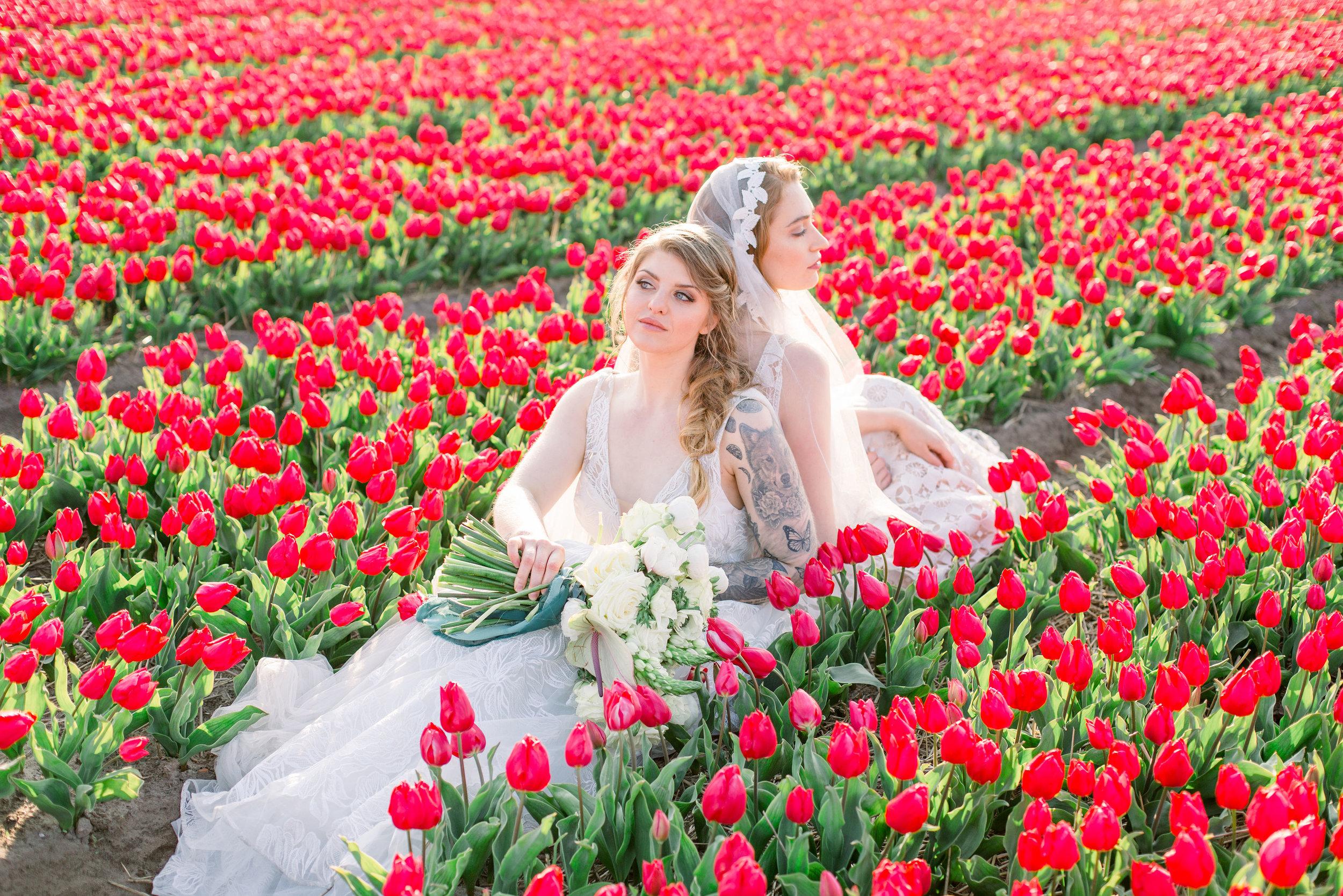 Tulip field elopement