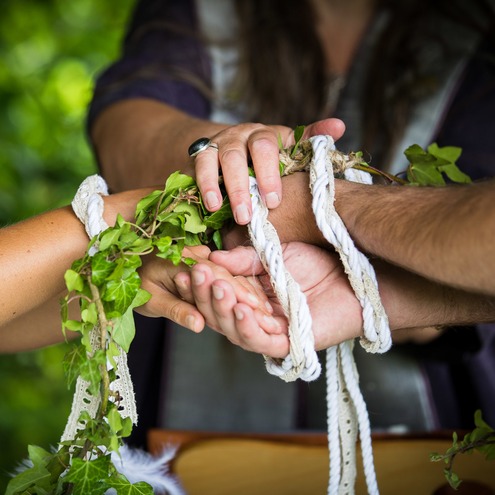 Viking inspired wedding handfasting