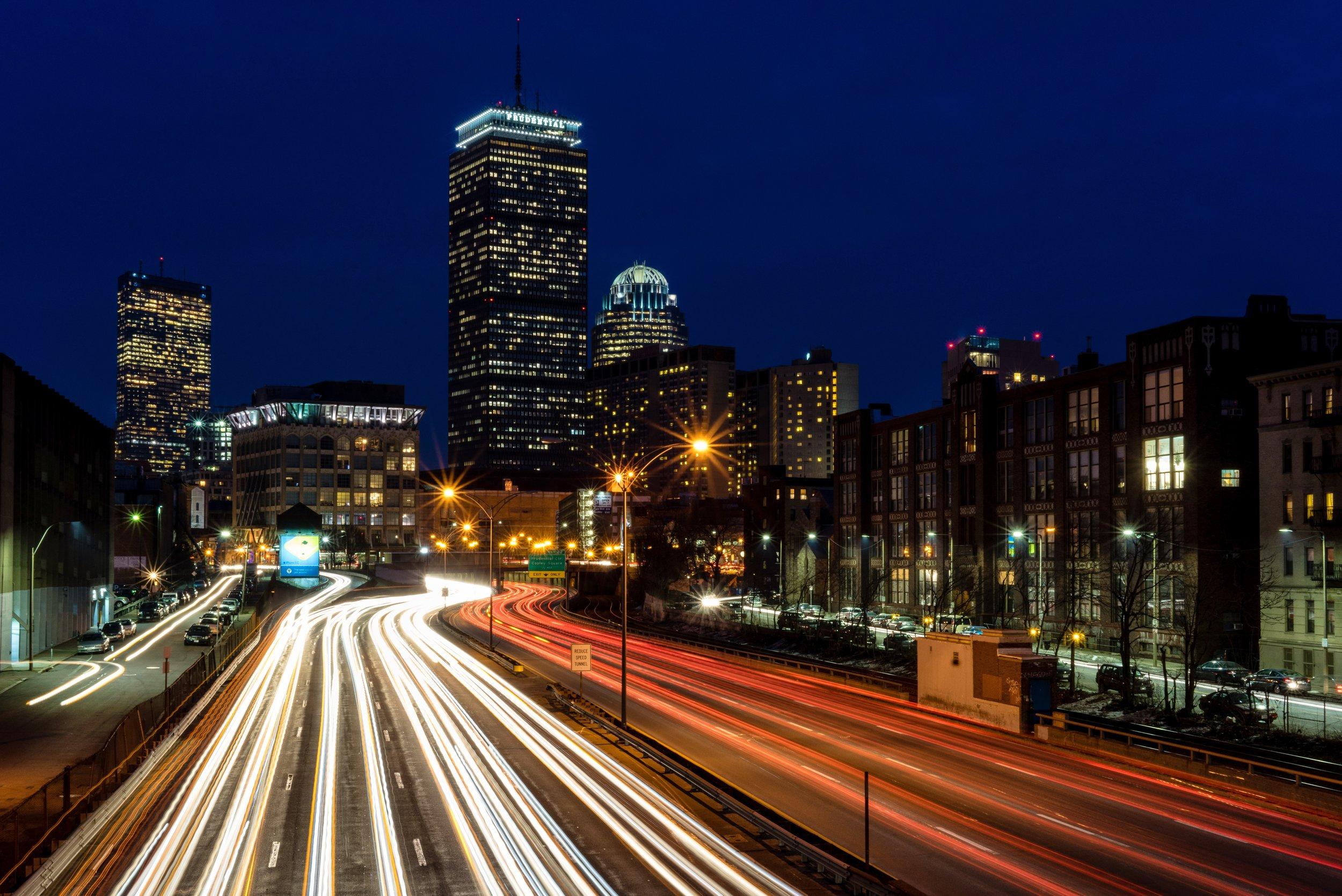 Boston traffic at night. Credit: CC-licensed  Flikr image  by Robbie Shade