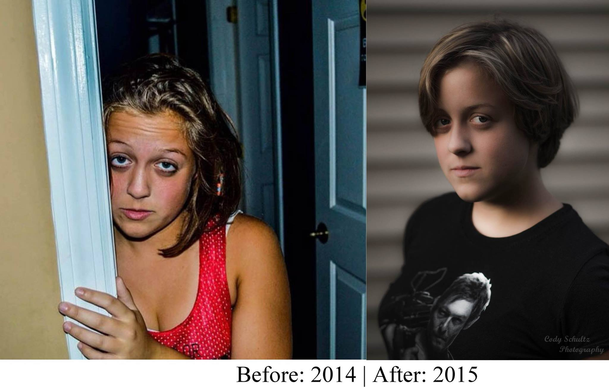 A side-by-side comparison of two portraits I had taken of my girlfriend to see my improvement with portrait photography.