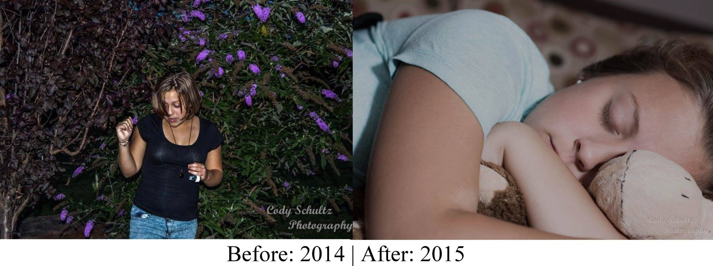 Another side-by-side comparison of my portrait photography to see how much I had improved in one year.