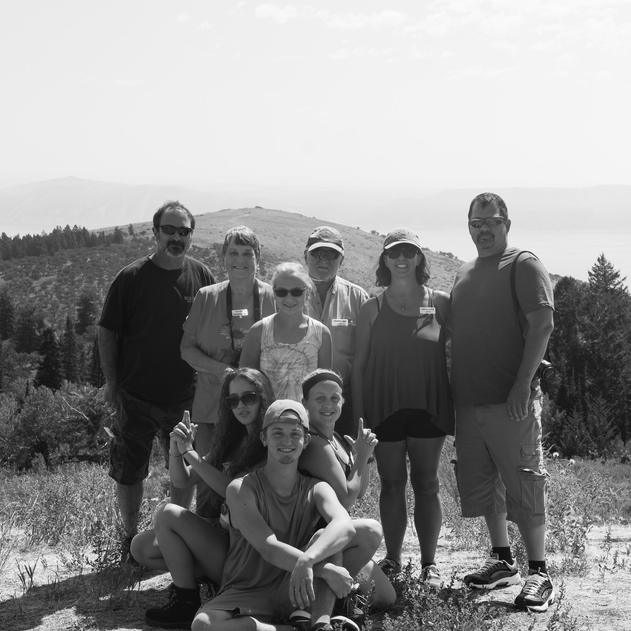 A black and white family portrait taken while exploring Wyoming in summer of 2017