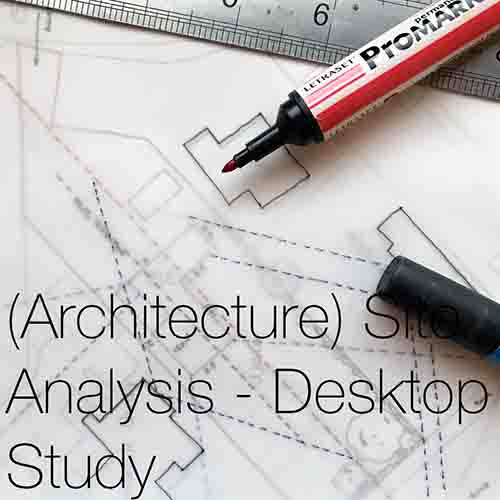 (Architecture) Site Analysis - Desktop Study   An (Architectural) site analysis desktop study helps to highlight the key and most important areas of your site prior to your site visit, enabling you to produce the best architectural site analysis research and presentation diagrams. This is proven to aid in the development of architectural concepts and design.