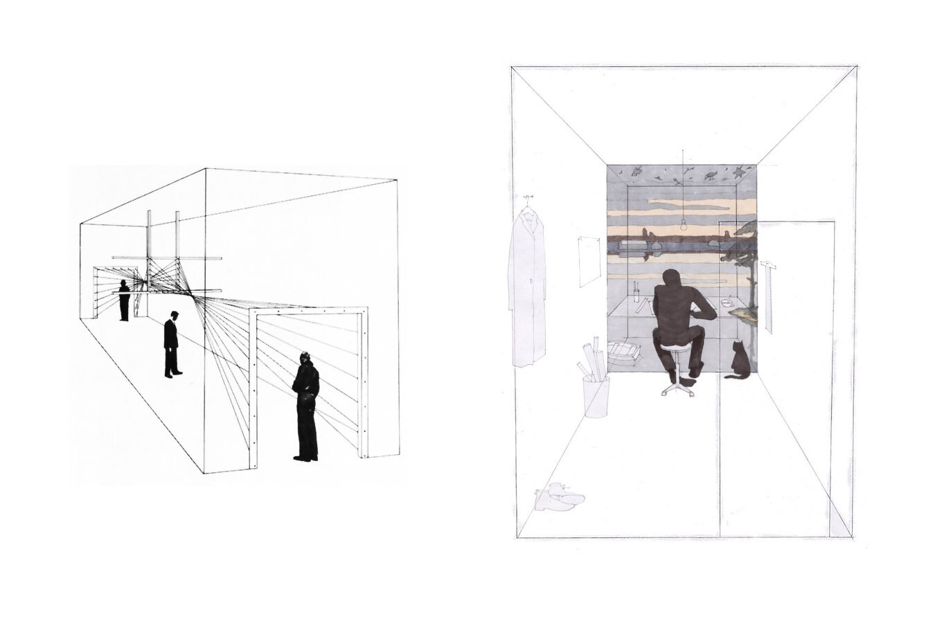 DRAWING FOR ENTRANCE by HERBERT BAYER -  source , Drawing The Informality of The Architectural Studio by STUDIO-MISHIN -  source