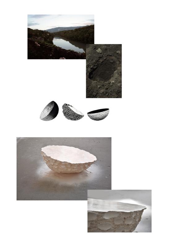 Plan Masse, miroir en grès, poli à la pierre.