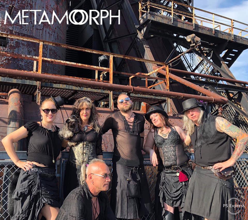 "METAMORPH BAND 8/31/19 at the PA STEAM fest at Steel Stacks.  Metamorph band: Margot Day (Vox/Flute) Kurtis Knight (Guitar/Keys/Programming) Jorge ""Anomaly"" Wolynski(Bass) Joe Netzel (Drums). Dancers Kitten & Rivqah Cas."