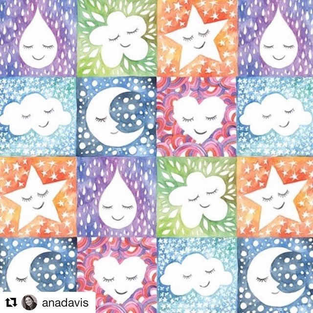 "Sweet dreams, I mean ""sweet new art""! #Repost @anadavis with @get_repost ・・・ More #happyskies fabric prints! @blendfabrics #fabric #sewing #print #happy #moonandstars #art #artist #licensing #artlicensing #brandedlicensing #brandedartist #patterndesign #surfacepatterndesign #surfacepattern"