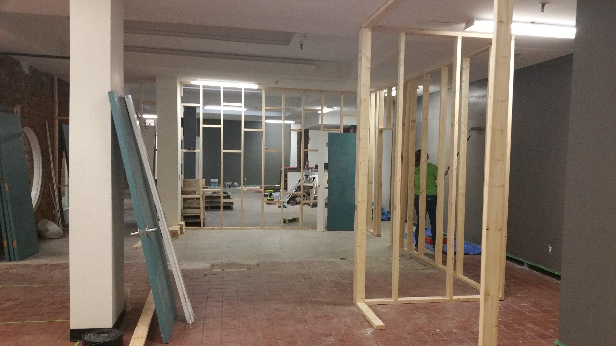 Building walls inside walls at 303 Bagot Street
