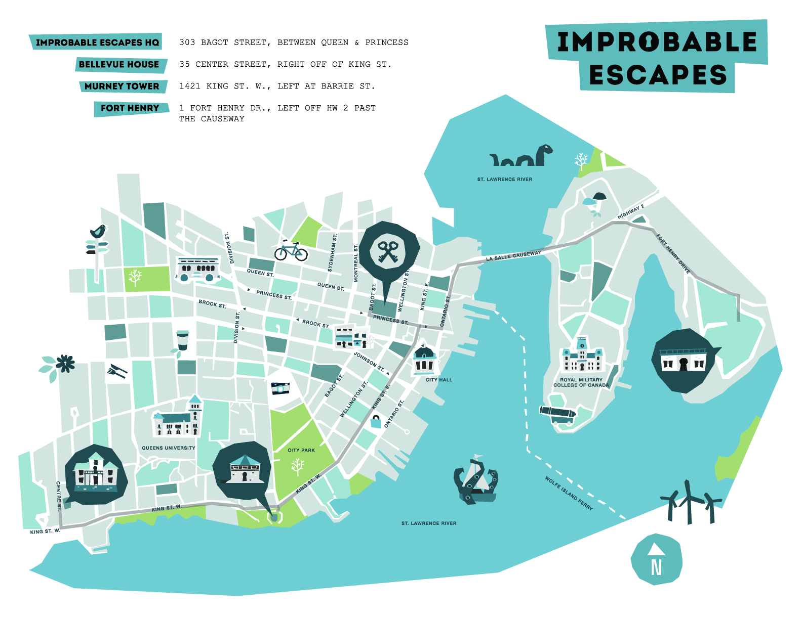 Some of Improbable Escapes' pop-up locations