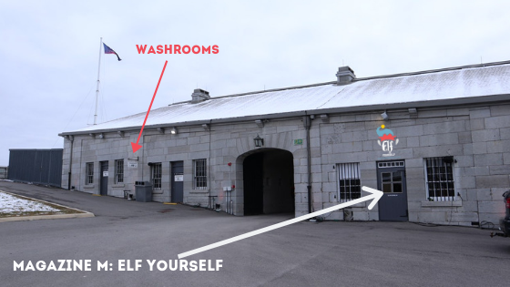 Enter Fort Henry National Historic Site.  Located inside the Advanced Battery (same area as the ticket booth), we are located to the right of the bathrooms.