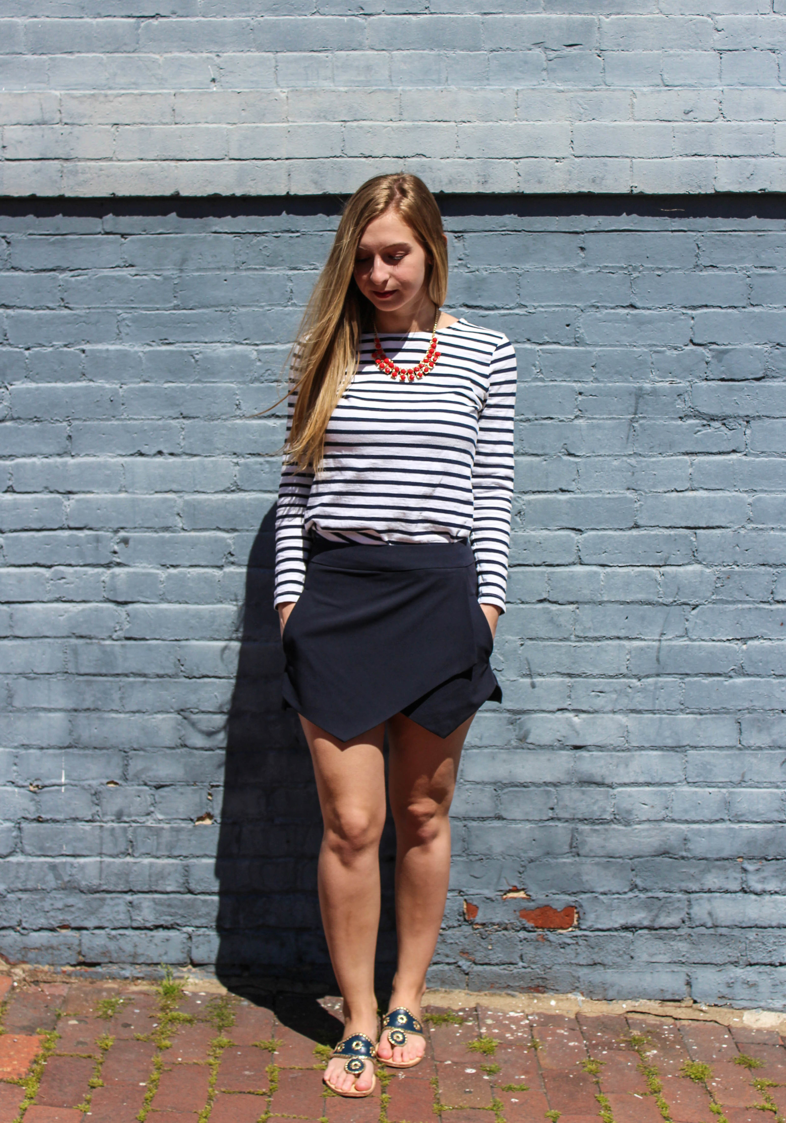 Outfit: Top: J.Crew (old);Skort:  Bloomingdales  (AQUA - under $70 and comes in black as well!); shoes:  Jack Rogers ; necklace:  similar