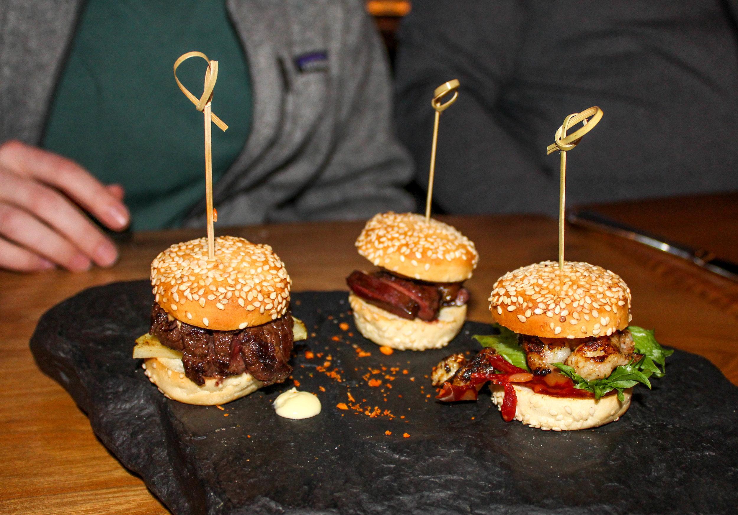 Mini burgers at Grill Market
